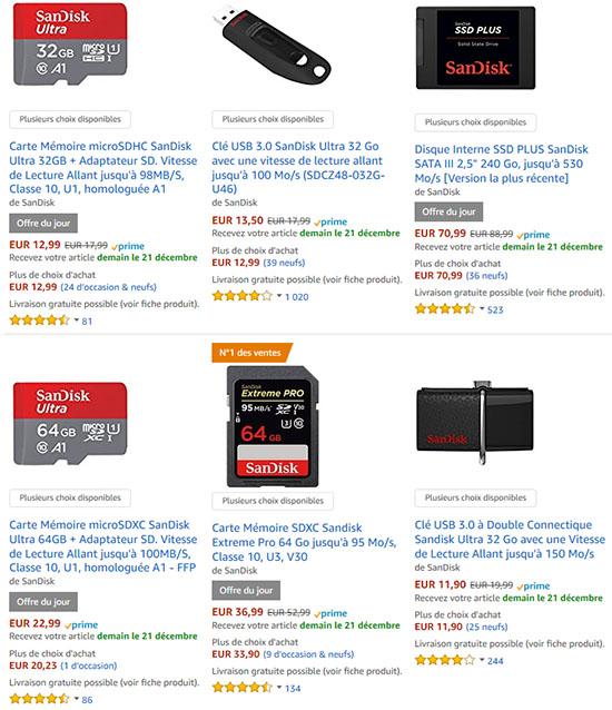 Bon Plan : des cartes mémoires, SSD et clés usb SanDisk en promos sur Amazon.fr