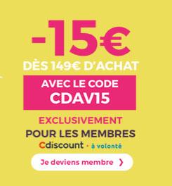 Soldes : 15 euros de remise sur l'ensemble du site CDiscount (maj2)