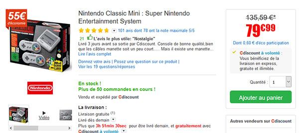 Bon Plan : la Super Nintendo Mini à nouveau en stock à 79,99€ chez CDiscount (maj)