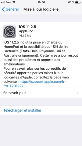 Apple met en ligne iOS 11.2.5