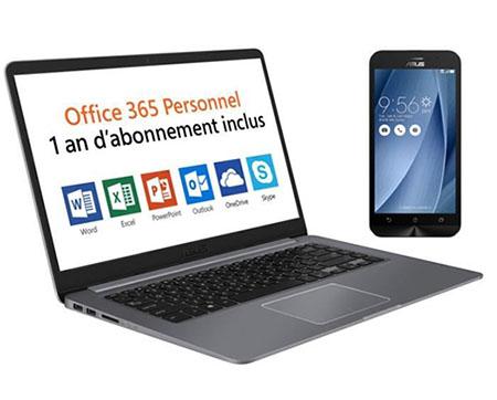 Soldes : un PC portable 15″ ASUS + un smartphone ASUS + Office 365 pour 499 euros