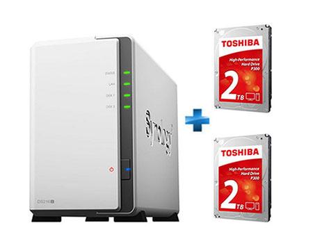 Soldes : un NAS Synology DS216J + 2 disques durs Toshiba P300 de 2 To à 269 euros
