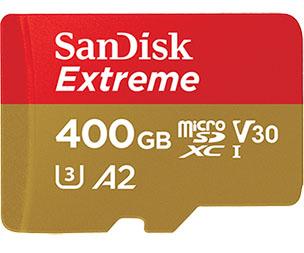 Une micro SDXC de 400 Go dopée à la NAND Flash 3D dans la gamme SanDisk Extreme