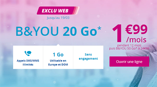 Bon Plan : le forfait B&You 20 Go de Bouygues Telecom en promo à 1,99 euros par mois (maj : offre prolongée)