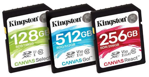 Trois nouvelles gammes de cartes SD «Canvas» chez Kingston