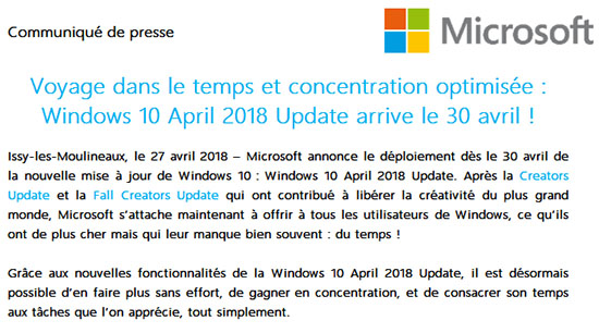 C'est officiel : la prochaine mise à jour de Windows 10, l'April Update, sera disponible ce lundi 30 avril