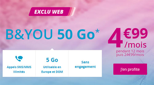 Bon Plan : le forfait B&You 50 Go en promo à 4,99 euros par mois (maj : offre prolongée)