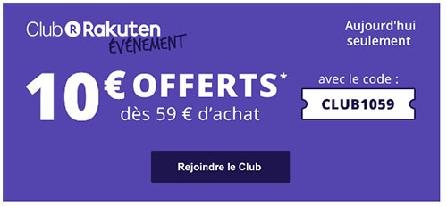 Bon Plan : 10€ de réduction sur le site Rakuten / Priceminister