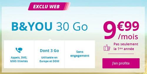 Bon Plan : le forfait B&You 30 Go de Bouygues est en promo à 9,99 euros par mois à vie (maj2: offre prolongée)