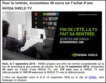 Bon Plan : NVIDIA baisse le prix de la Shield TV à 159€ jusqu'à vendredi