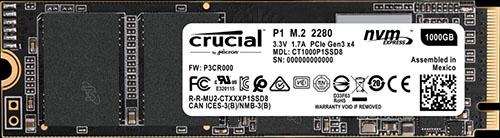 Bon Plan : 91€ le SSD M.2. NVMe Crucial P1 de 1 To !