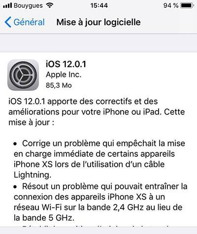Apple publie iOS 12.0.1 pour corriger plusieurs bugs
