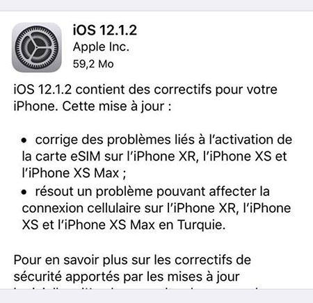 Apple diffuse la version 12.1.2 d'iOS pour corriger des bugs de ses derniers iPhone