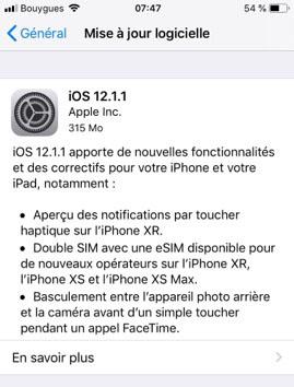 Apple publie iOS 12.1.1 pour les iPhone, iPad et iPod Touch