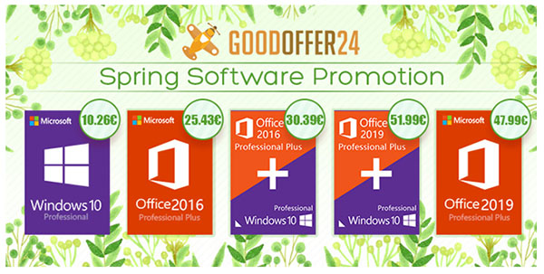 Les offres du printemps de Goodoffer24 : Windows 10 Pro à 10,26 €, Office 2016 Pro à 25.43 €