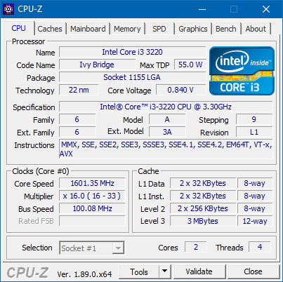 Le programme CPU-Z sort en version 1.89