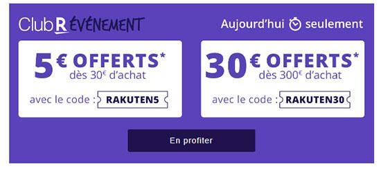Bon Plan : Rakuten offre 5€ ou 30€ de réduction sur vos achats