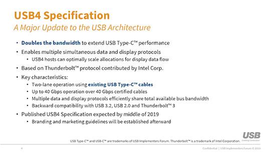 L'USB4 est en bonne voie… Les premiers produits USB4 arriveront l'année prochaine !