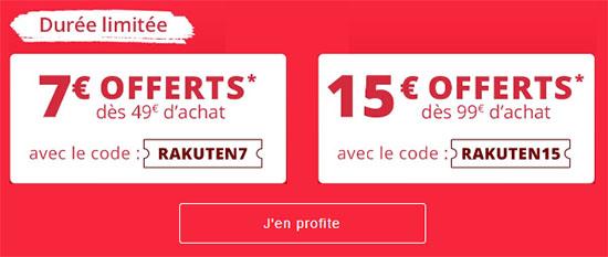 Bon Plan : 7€ ou 15€ de réduction sur Rakuten aujourd'hui !