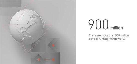 Windows 10 est présent sur 900 millions de machines