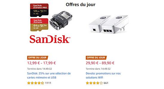 Bon plan : plusieurs cartes SanDisk et des CPL Devolo en vente flash sur Amazon.fr