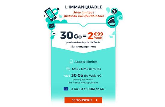 Bon Plan : un forfait 4G de 30 Go avec appels, sms, mms illimités à 2,99€ chez CDiscount Mobile