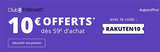 Bon Plan : Rakuten offre aujourd'hui 10€ de remise dès 59€ d'achats