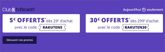 Bon Plan : Rakuten offre 5€ ou 30€ de remise sur son site