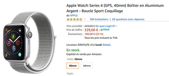 Bon Plan – Black Friday : l'Apple Watch Series 4 à 329€ sur Amazon.fr