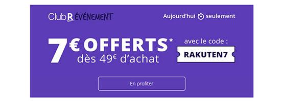 Bon Plan : Rakuten offre 7€ de remise sur l'ensemble de son site