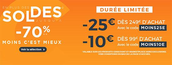 Soldes : CDiscount vous offre 10€ ou 25€ de remise en ce moment