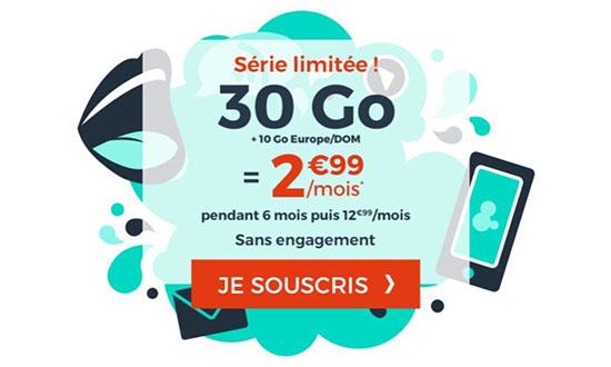 Bon Plan : un forfait 4G de 30 Go à 2,99€ par mois (maj)