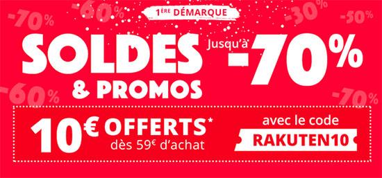 Soldes : 10€ de remise chez Rakuten dès 59€ d'achats