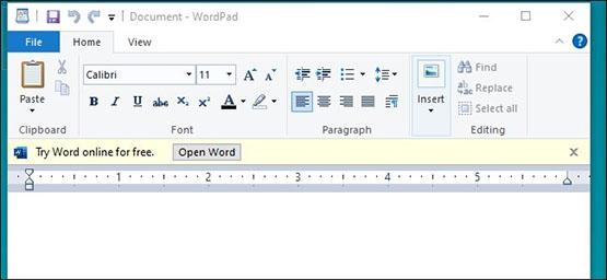 Windows 10 : Microsoft ajoute des publicités pour Office dans le programme Wordpad