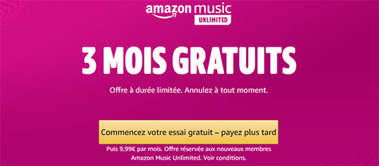 Bon Plan : le service musical Amazon Music Unlimited gratuit durant trois mois
