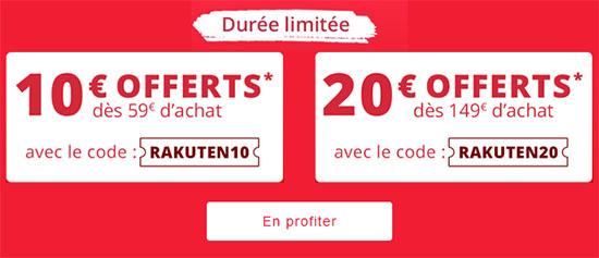 Bon Plan : 10€ ou 20€ de réduction sur le site Rakuten