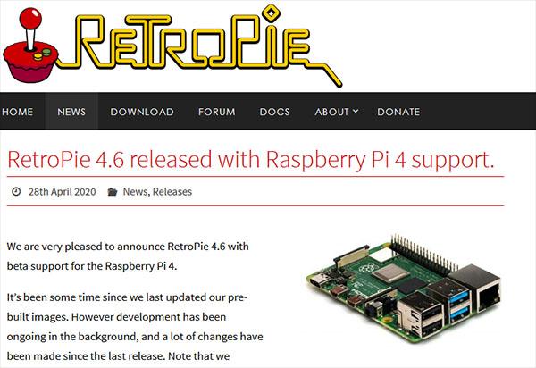 RetroPie 4.6 est maintenant compatible avec le Raspberry Pi 4