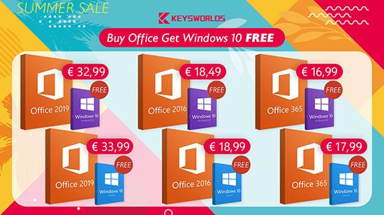 Promotion spéciale pour l'été : Achetez Office et obtenez Windows 10 gratuitement ! Office 2016/2019 et Windows 10 au prix le plus bas