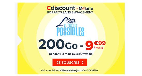 Bon Plan : CDiscount Mobile propose un forfait 4G avec 200 Go de DATA pour 9,99€/mois