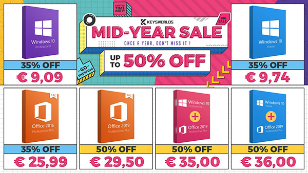 Promos de la mi-année 2020 chez Keysworlds : obtenez Windows 10 à partir de 9€ et 50% de réduction sur Office 2019 !