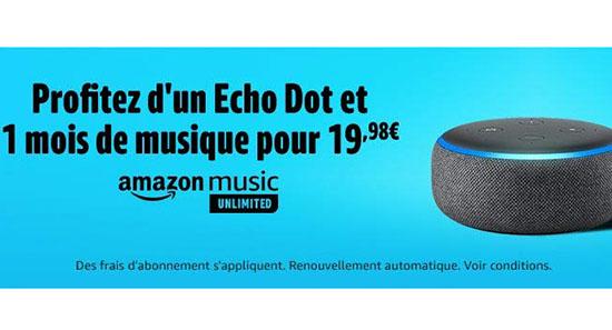 Bon Plan : une enceinte connectée Echo Dot 3 + un mois d'abonnement Amazon Music Unlimited pour 19,98€