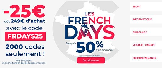 French Days : CDiscount offre 25€ de remise dès 249€ d'achats