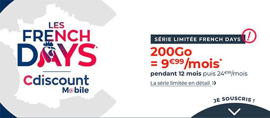 French Days : un forfait 4G en édition limitée chez CDiscount Mobile avec 200 Go de DATA pour 9,99€/mois