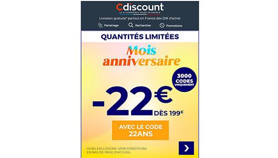 Bon Plan : CDicount a 22 ans et offre 22€ de remise dès 199€ d'achats