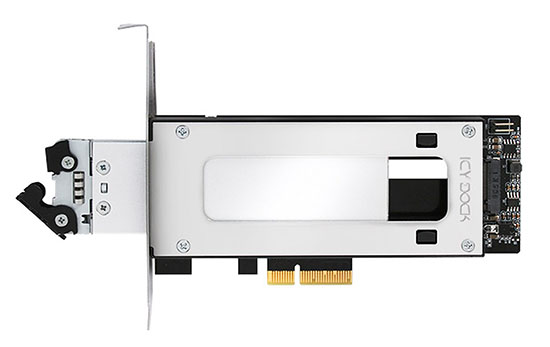 ICY Dock MB840M2P-B : une carte PCI Express qui fait office de rack pour les SSD M.2. NVMe