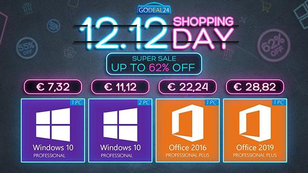 Bon Plan : Grosse promo du 12.12 : obtenez Windows 10 à 5,56 € et les logiciels Microsoft Windows et Office avec jusqu'à 88% de réduction !