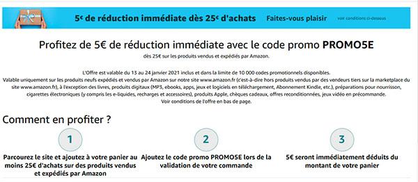 Soldes : Amazon.fr vous offre 5€ de remise