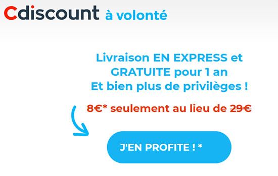 Soldes : l'abonnement CDiscount à Volonté à 8€ par an