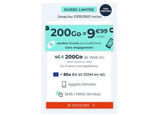 Soldes : un forfait 4G avec 200 Go de DATA chez CDiscount Mobile à 9,99€/mois