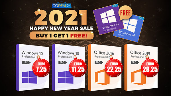 Promo du Nouvel An 2021: Windows 10 est dispo à partir de 5,60€ et d'autres réductions jusqu'à 62% !